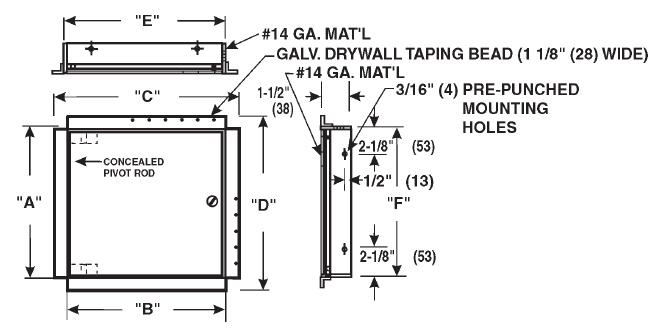 Model Cad Dw1414 Cad Dw Ceiling Or Wall Access Doors